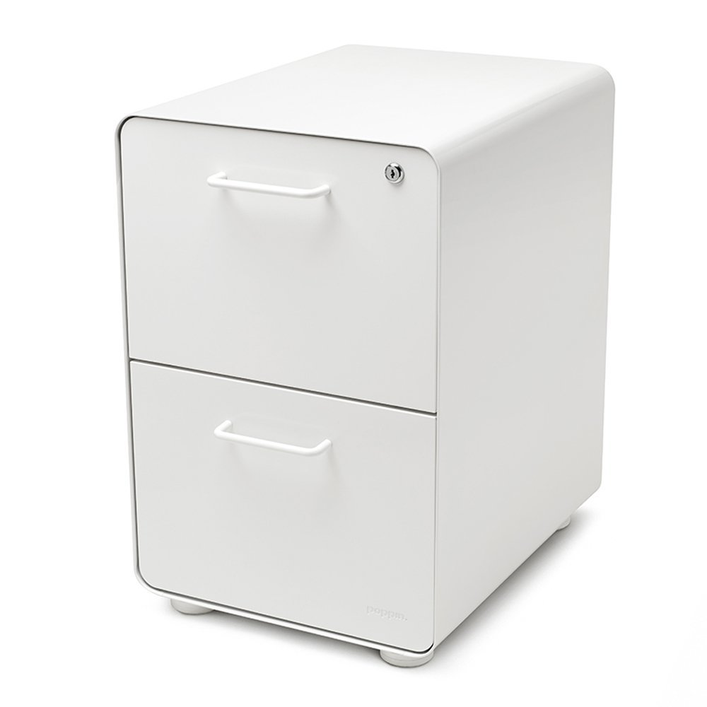 White Stow - 2 Drawer Filing Cabinet