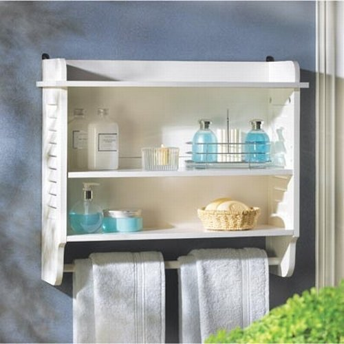 white wood bathroom wall shelf with towel bar