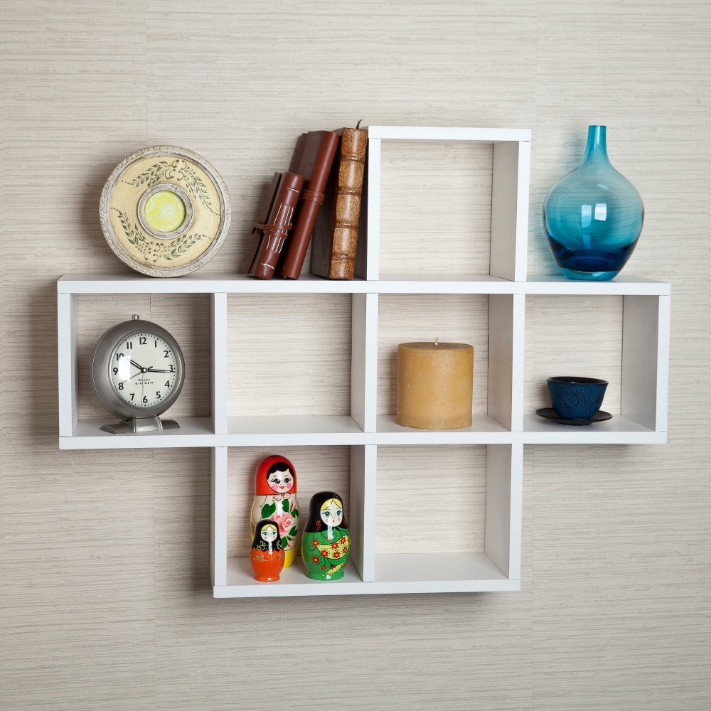 White Wooden Square Wall Shelf