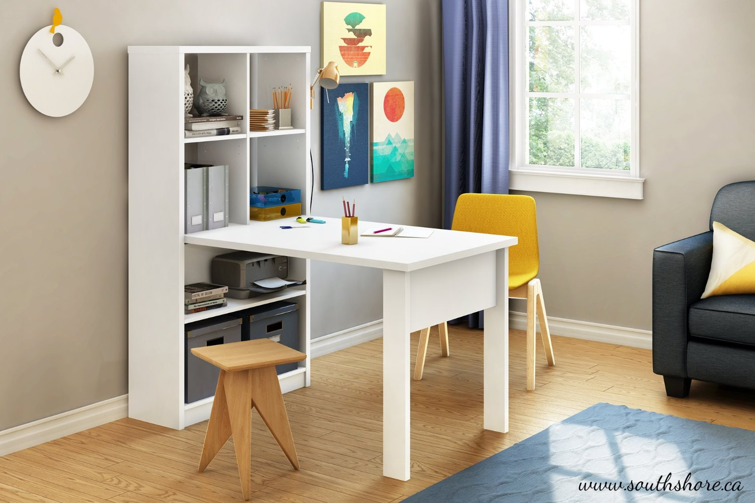White Work Table With Shelves
