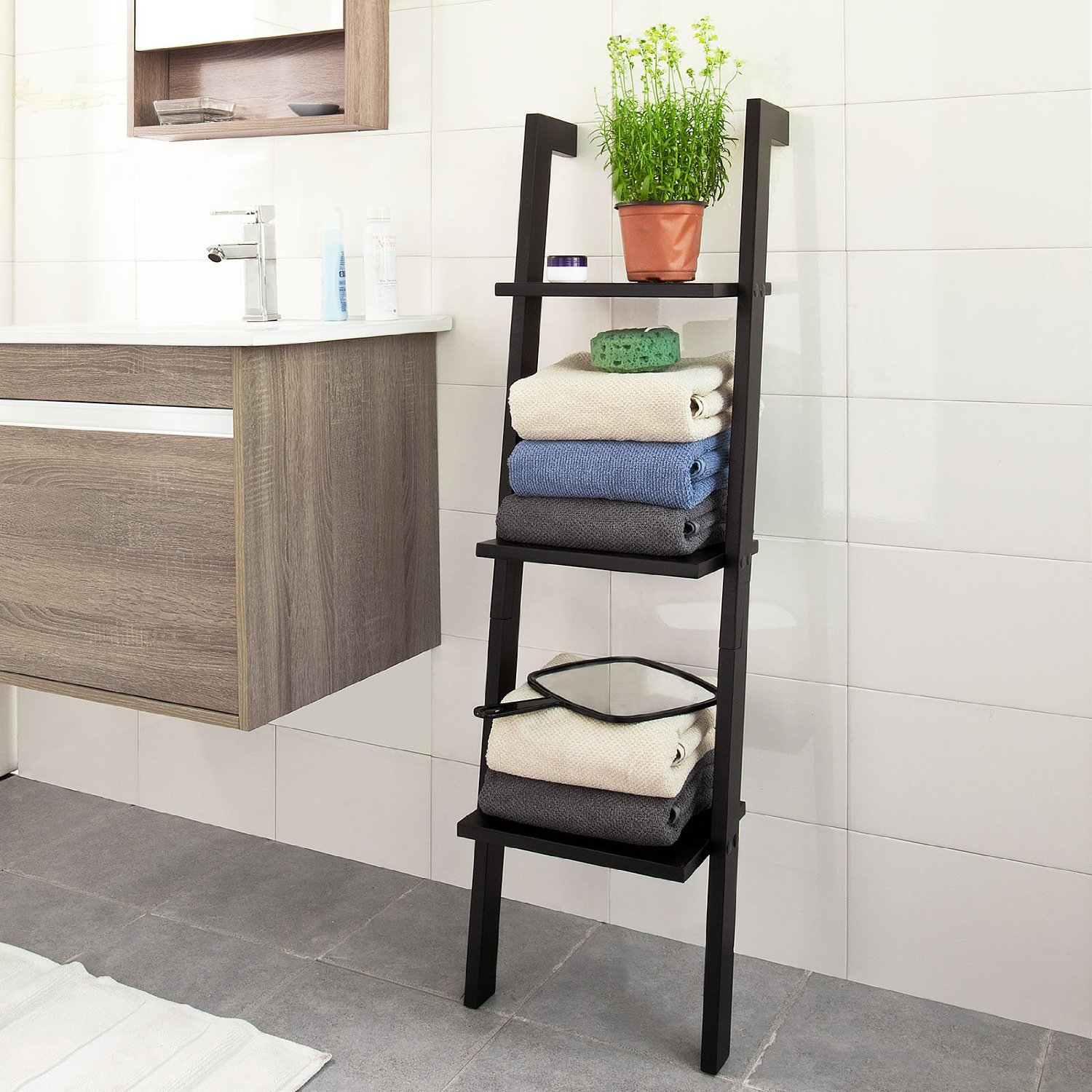 11 best bathroom ladder shelves for toilet storage reviews. Black Bedroom Furniture Sets. Home Design Ideas