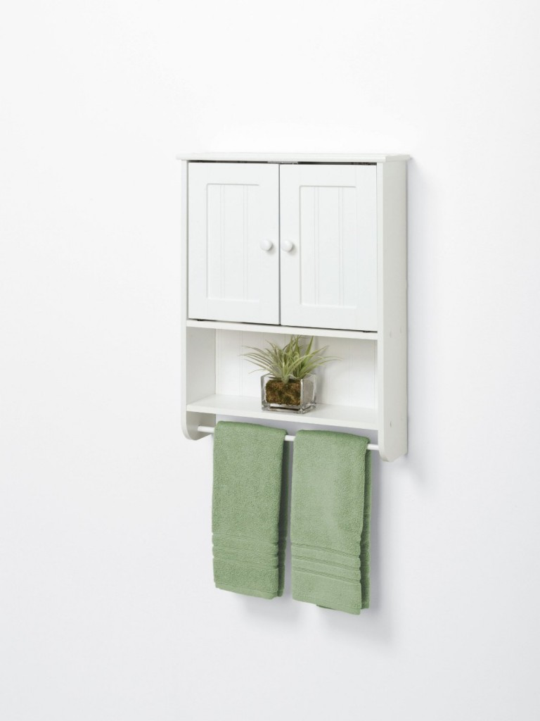 Wood bathroom cabinet with towel rack for In wall bathroom storage