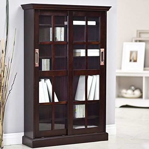 8 shelf sliding glass door bookcase