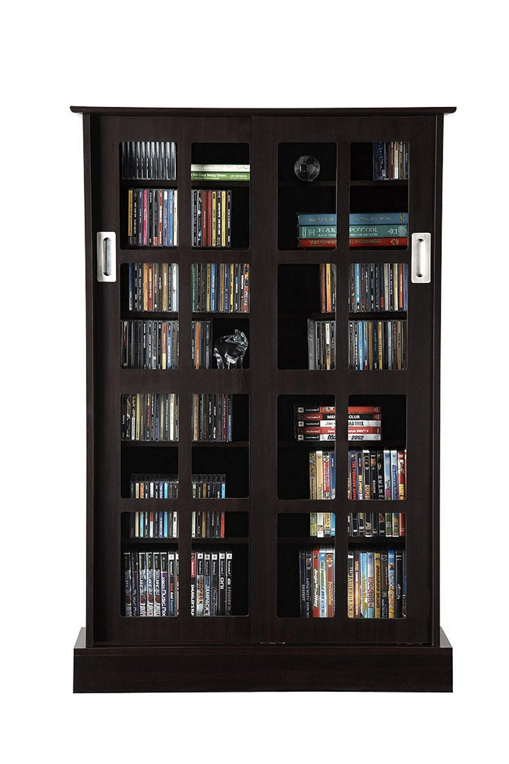 Exceptional Black Bookshelf With GlassDoor