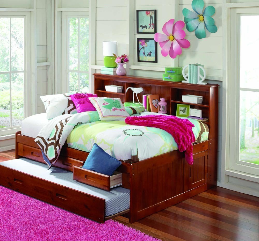Full Bookcase Daybed with 3 Drawers and Twin Trundle, Merlot