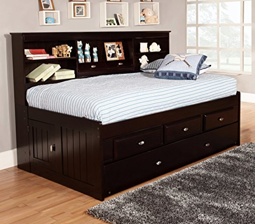 Twin Bookcase Daybed with 3 Drawers and Twin Trundle, Espresso