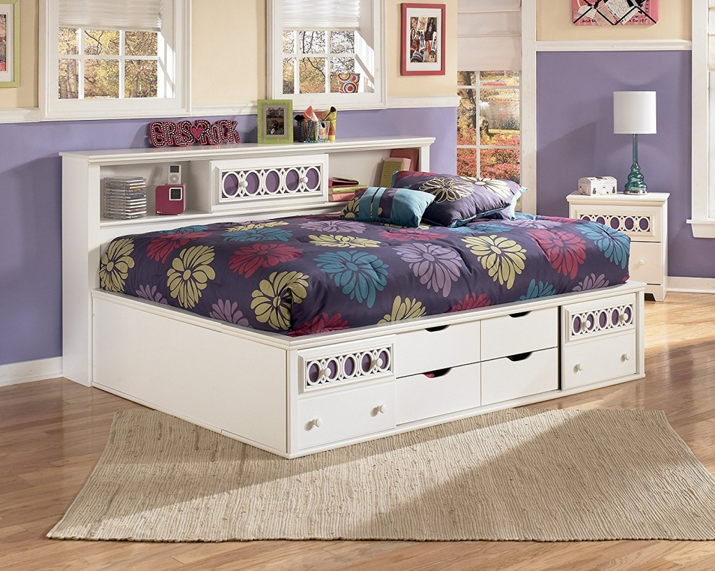 Twin Day Bed Bookcase with Drawer white in color