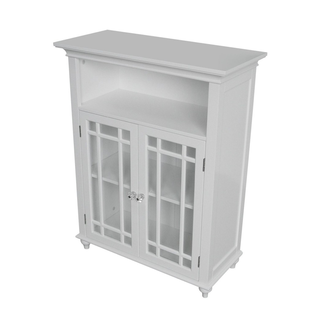 White Bathroom File Cabinet With Double Door