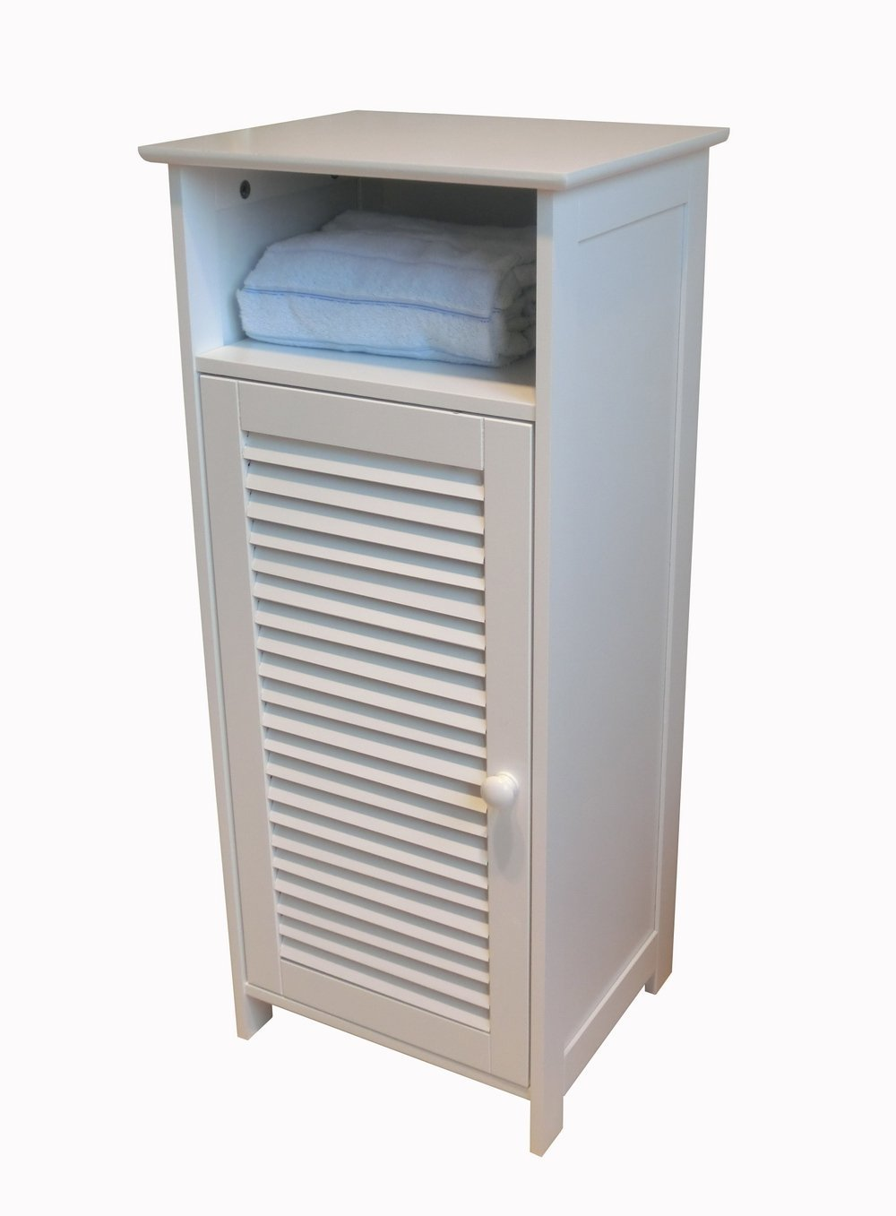 white standing bathroom storage cabinet with door
