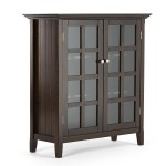 black solid wood bookcases with glassdoors