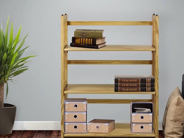 3 shelf folding stackable bookcase
