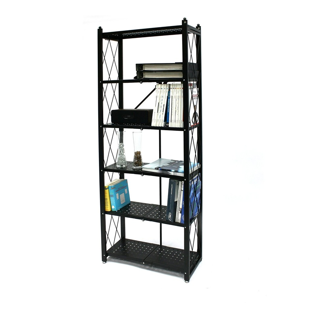 6 tier folding bookcase bookshelf