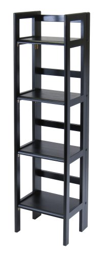 BLACK-4-TIER-FOLDING-BOOKCASE