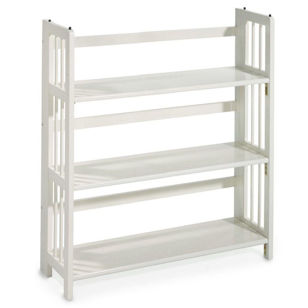WHITE FOLDING STACKING BOOKSHELF BOOKCASE