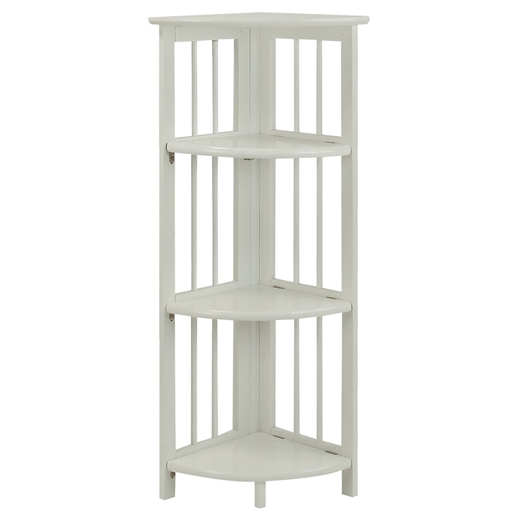 white 4 tier corner bookcase