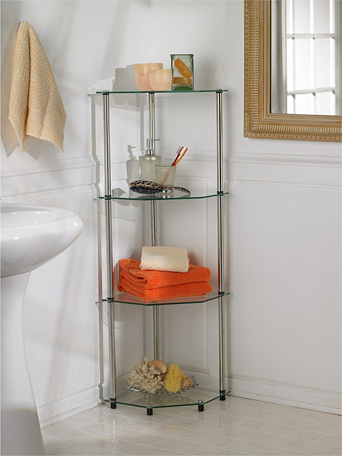 Brilliant Small Acrylic Corner Bathroom Shelf  150mm  Approx 6quot  Glass Effect