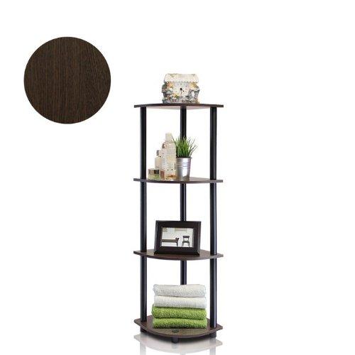 4-Tier Corner Display Rack Multipurpose Shelving Unit, Dark Brown Grain/Black