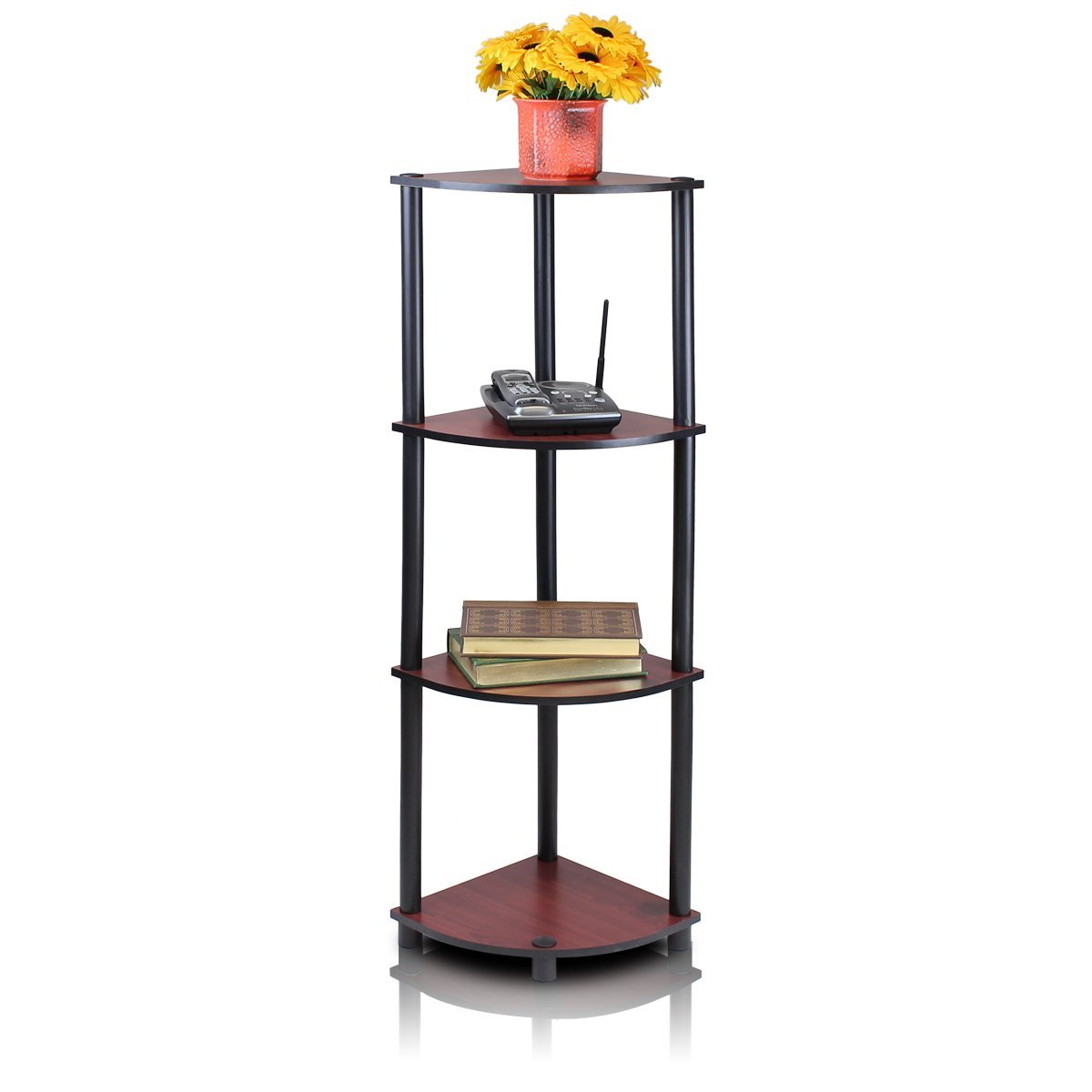 Tiered Display Shelves ~ Tier corner shelving unit and display rack dark cherry