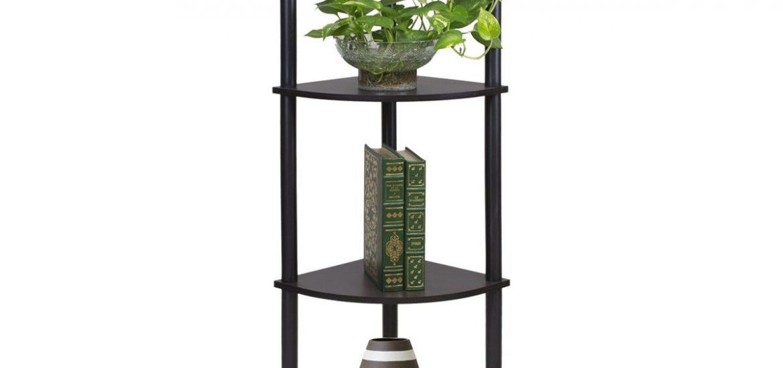 4-Tier Corner Display Rack Multipurpose Shelving Unit, Espresso/Black