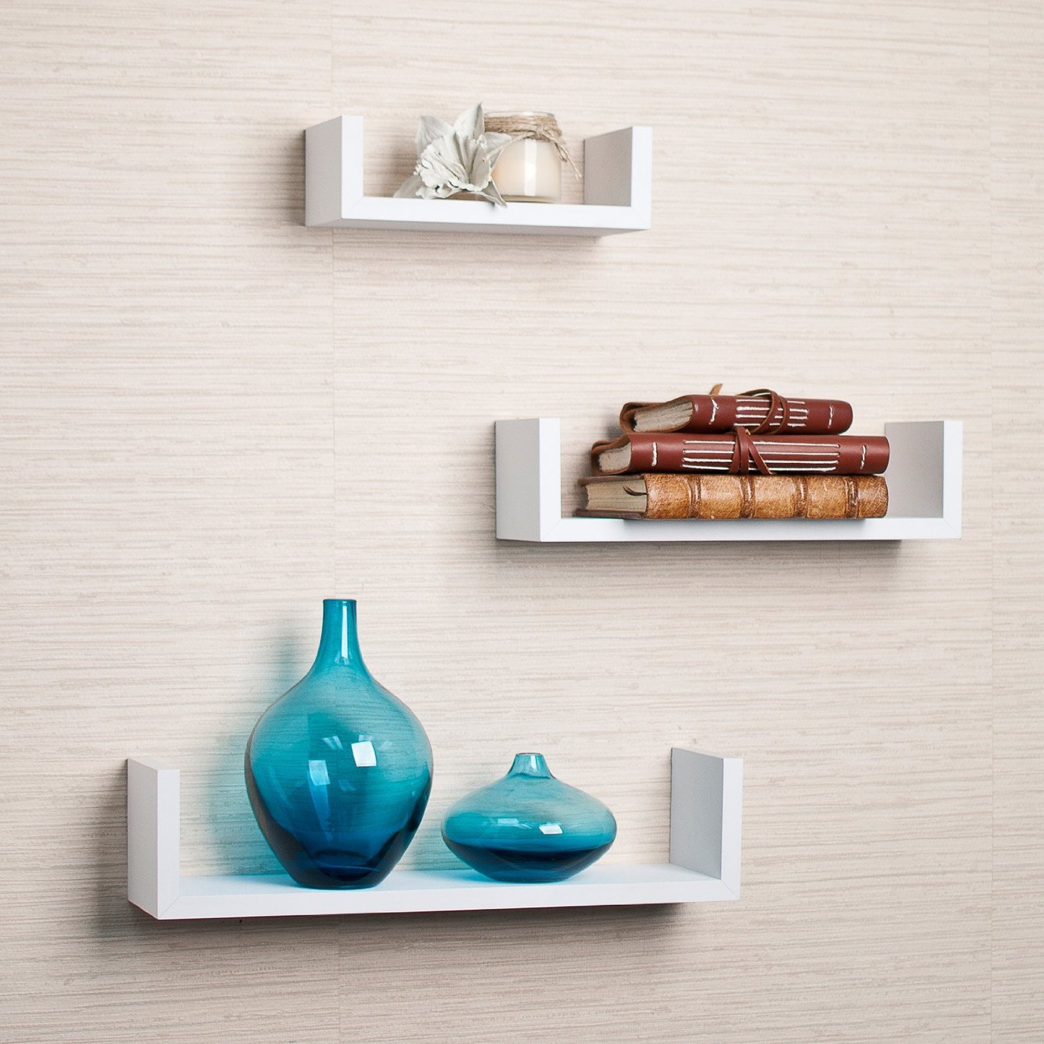 set of 3 white floating u shelves for your home interior - review 3 Wall Shelves