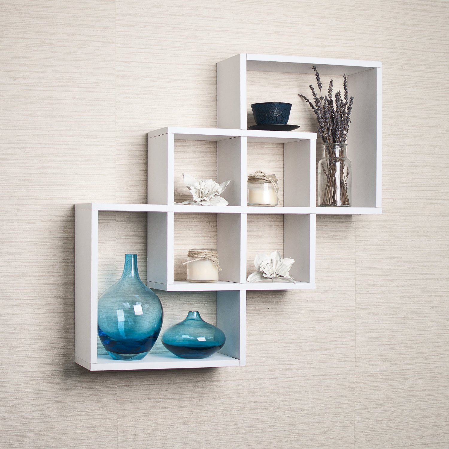 White Wooden Shelves With Brackets