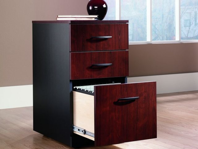 3 Drawer Wood Finish File Cabinet