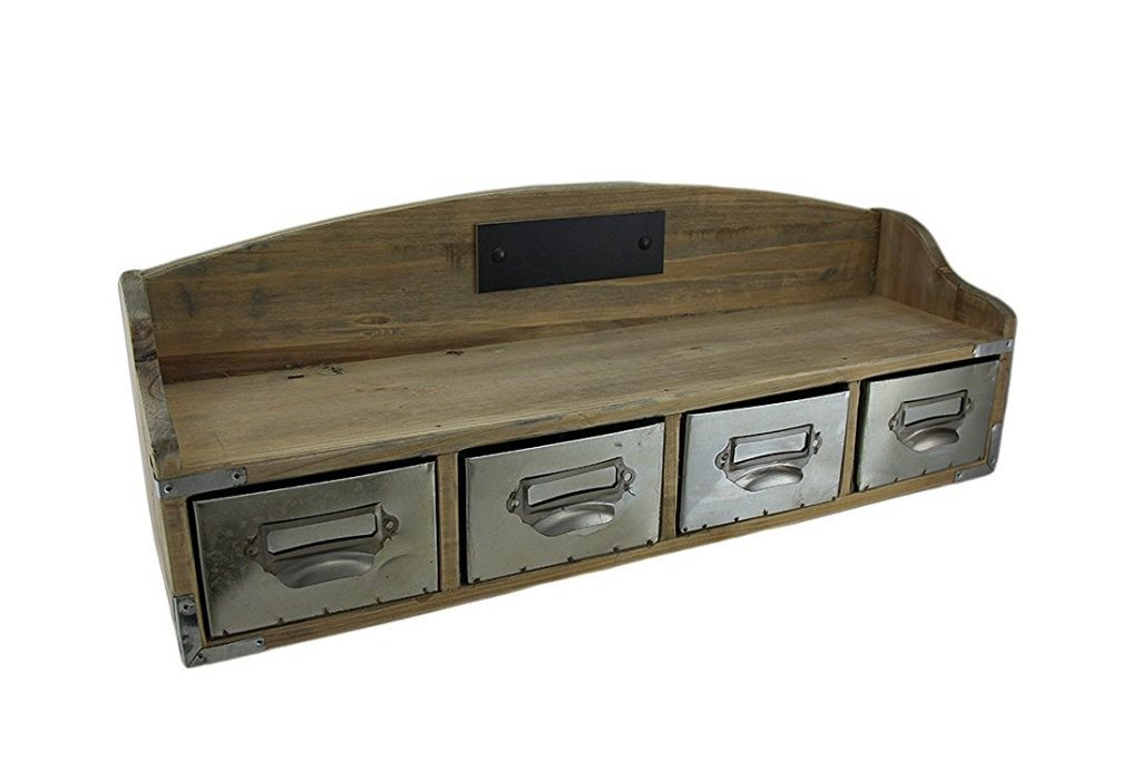 wooden retro wall floating shelf with drawer 1024x682