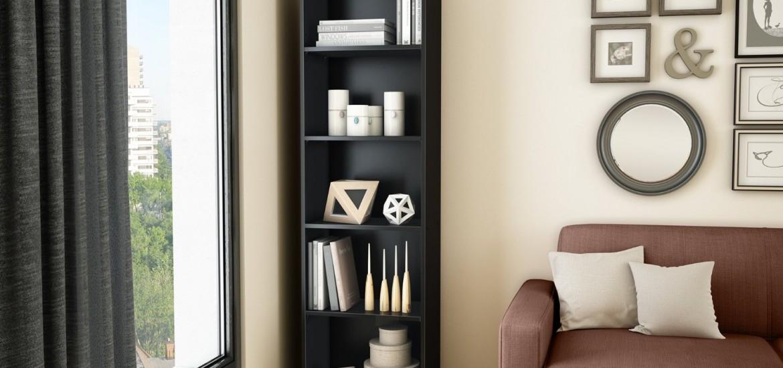 Black narrow bookshelf
