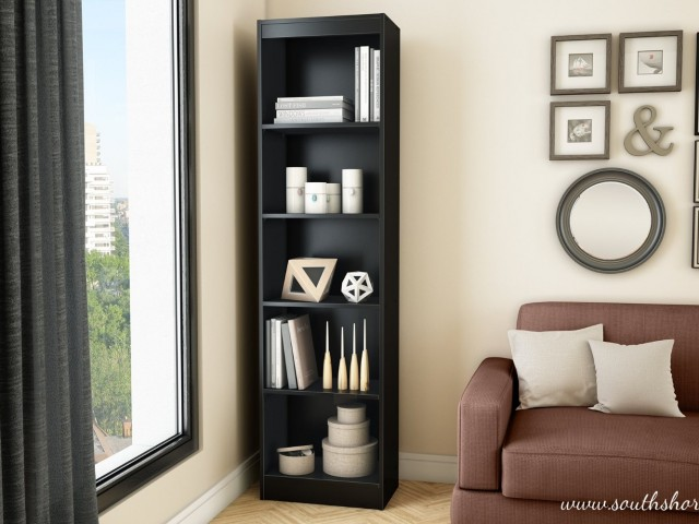 Black narrow bookshelf
